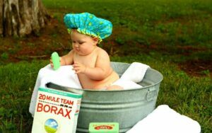 Baby in a tin bath