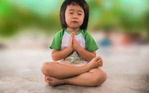 Child doing guided meditation
